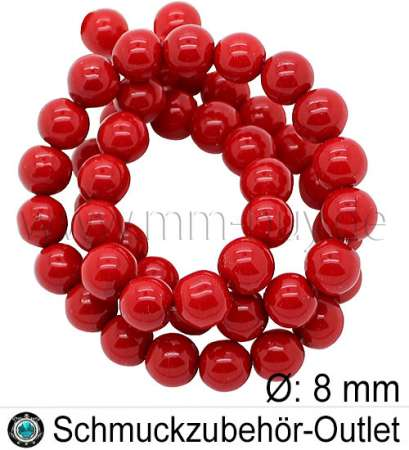 Glassperlen, rot, Ø: 8 mm, 1 Strang