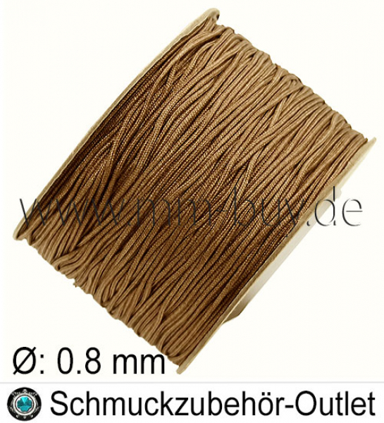 Makramee-Garn, Nylon, Milchkaffee, 0.8 mm, Meterware