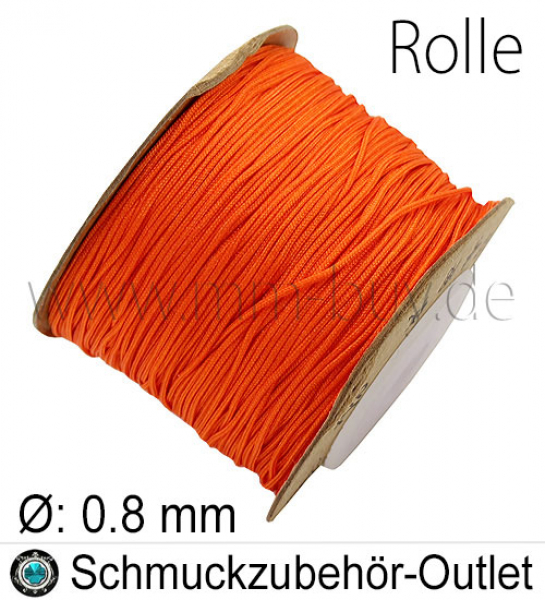 Makramee-Garn, Nylon, orange, 0.8 mm, 100 Meter (Spule)